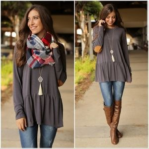💙Charcoal Peplum Tunic with Suede Elbow Patches